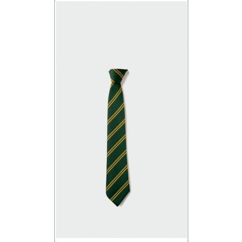 Locking Stumps School Tie Green/Gold - Clip On