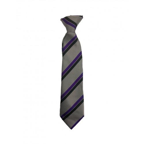 "St Catherines School Tie Purple/Silver/Black Clip On 14"""