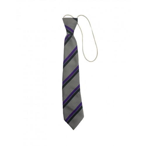 "St Catherines School Tie Purple/Silver/Black Elastic 10"""
