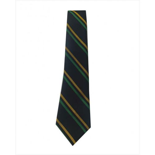 "Weston Primary Tie - Black/Green/Yellow - Clip On 14"""